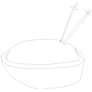 Sketch of swords stuck into a bowl of rice