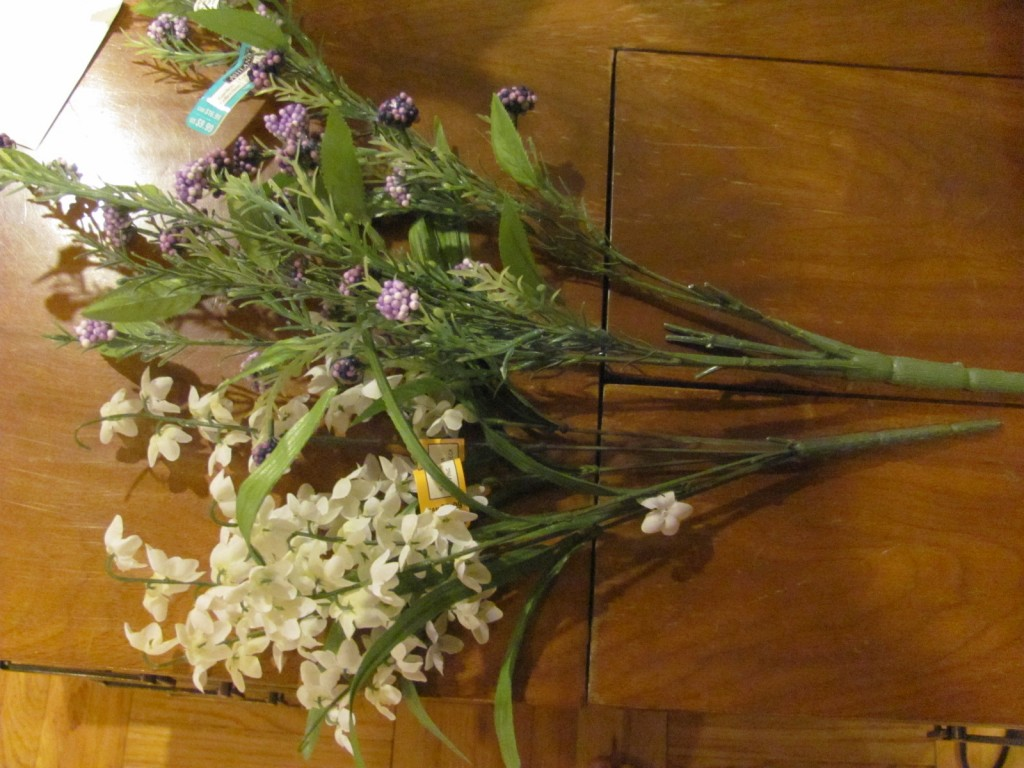 purple and white fake flowers to be turned into a DIY hair wreath