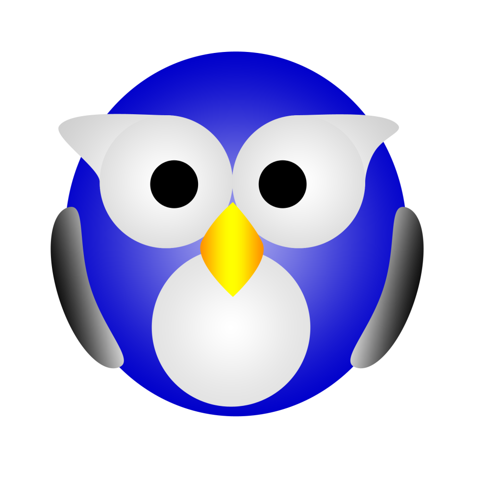 """A blue, black, and white """"owl."""" The Webmaster has clearly never seen one in real life."""