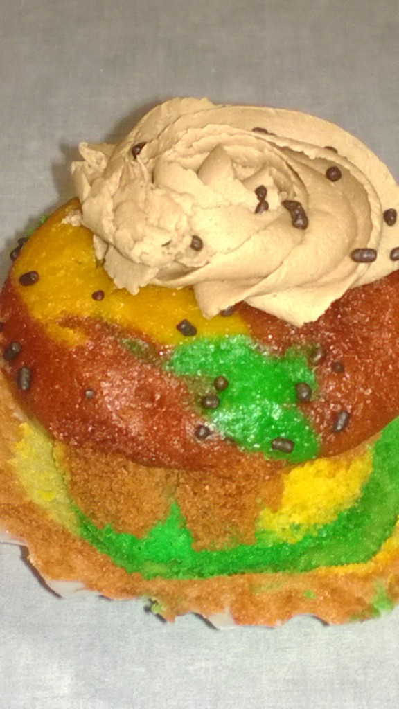 a multicolored frosted muffin. I think.