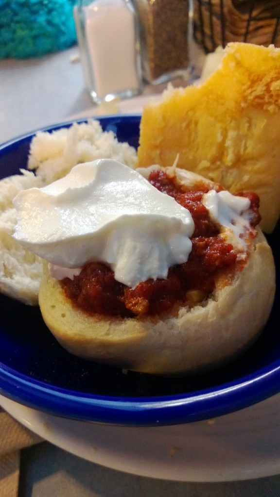 Bread-bowl with Chili.