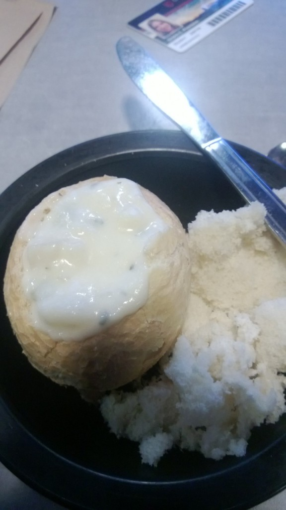 Hand-carved breadbowl with colliflour cheese soup.