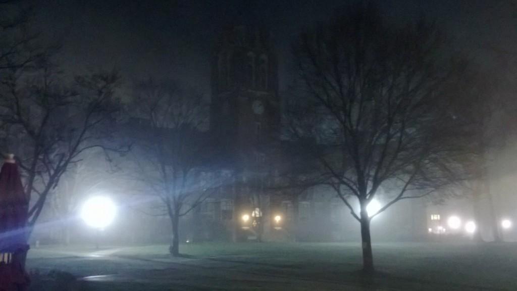 Mist shrouded clock tower