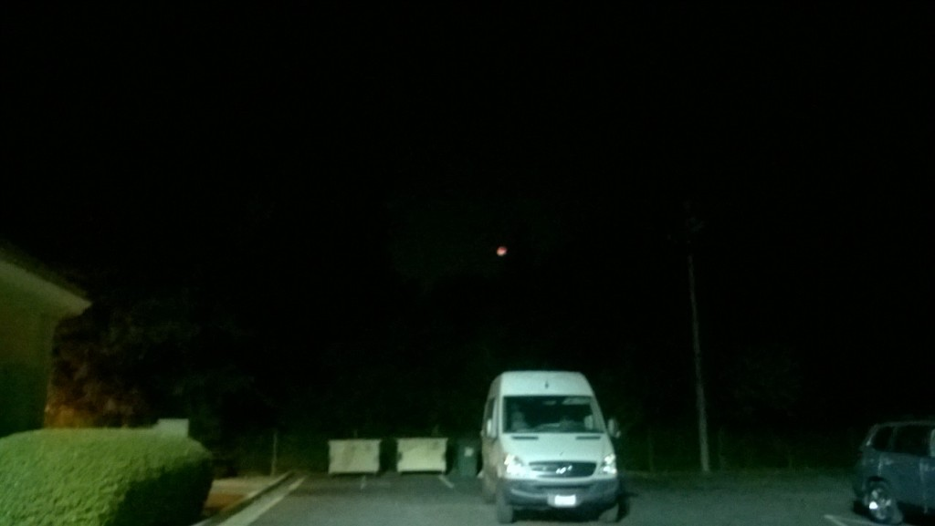 Very red-tinted moon due to lunar eclipse