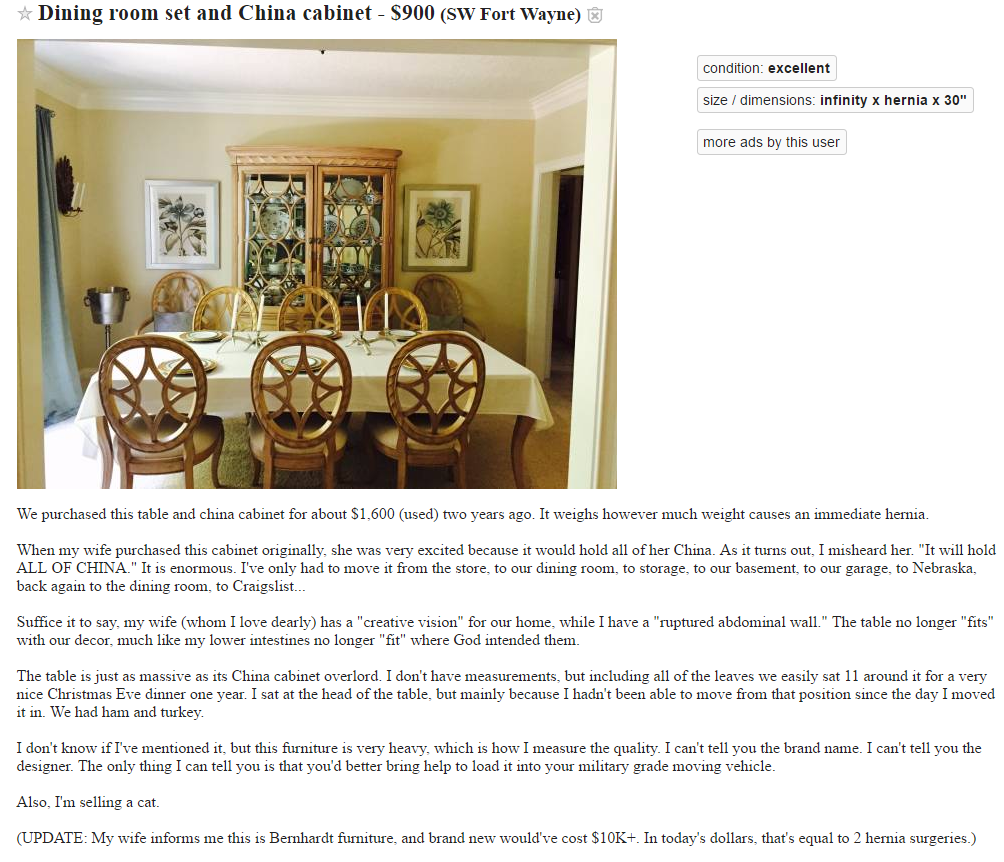 Craigslist Furniture Ad.