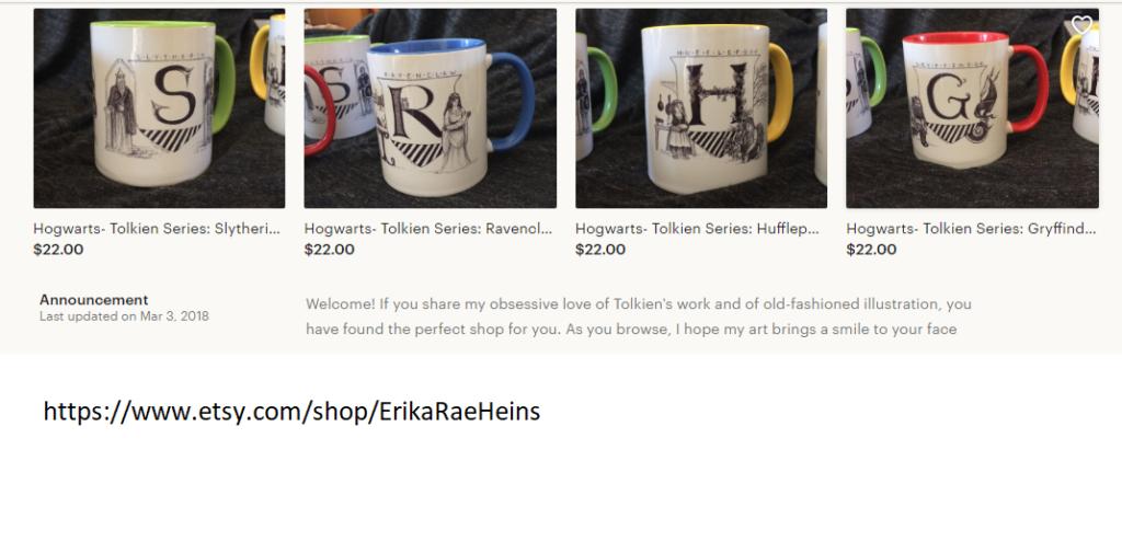 hogwarts / lotr mugs from Erika Rae Heins